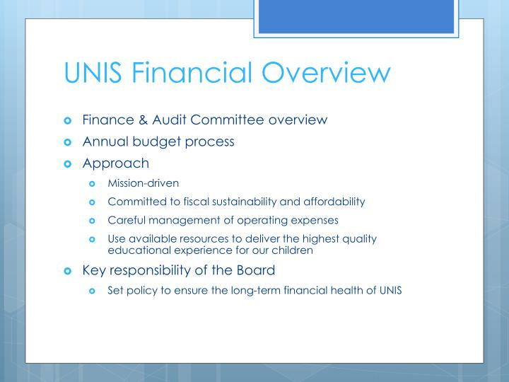 UNIS Financial Overview