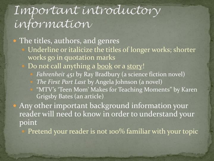 Important introductory information
