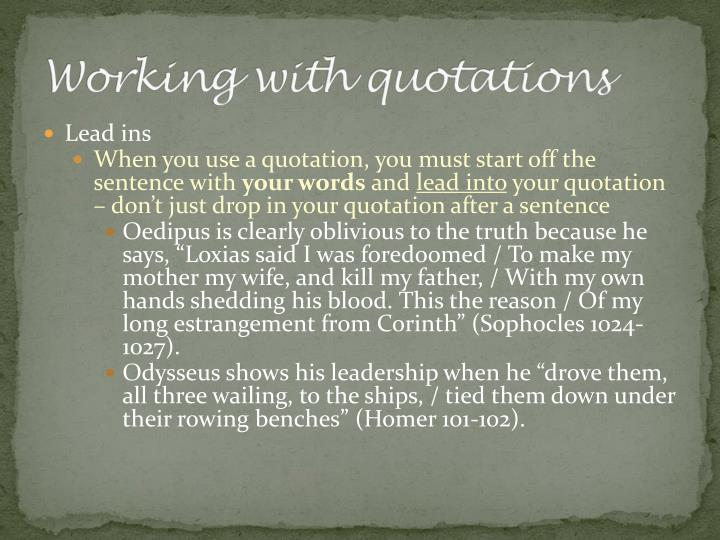 Working with quotations