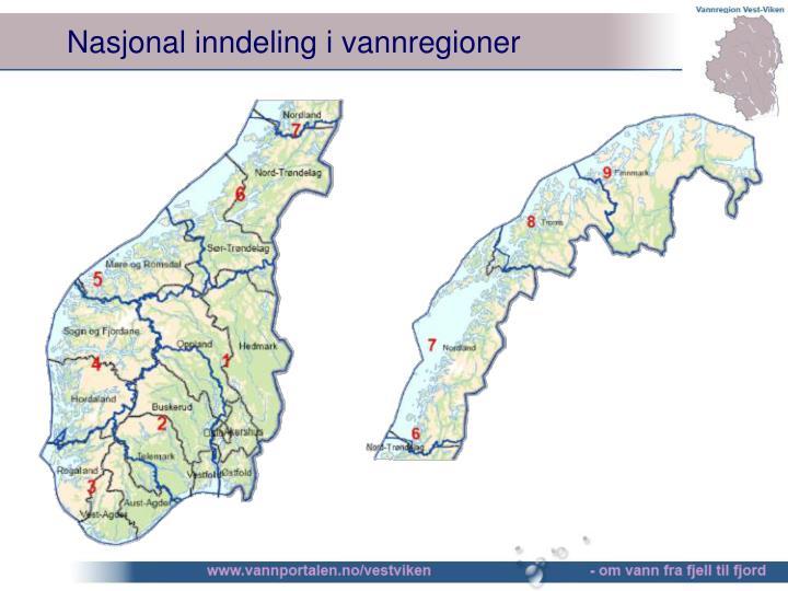 Nasjonal inndeling i vannregioner