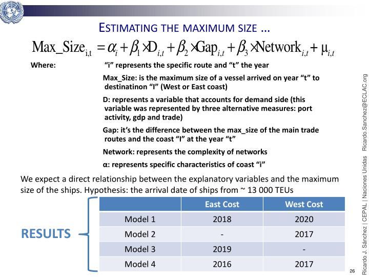 Estimating the maximum size …