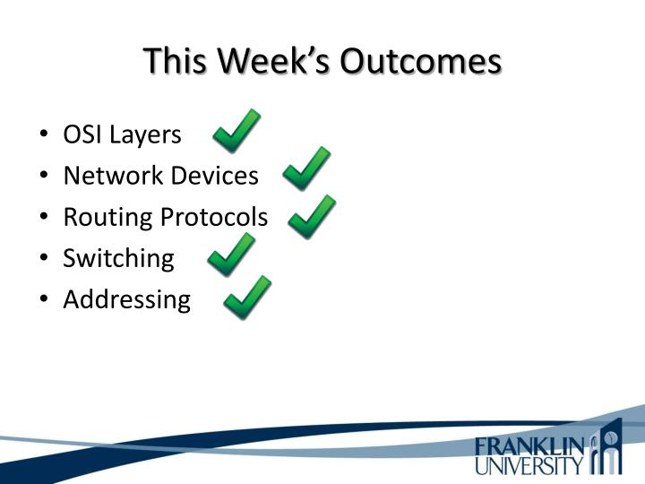 This Week's Outcomes
