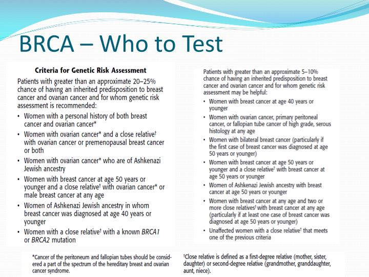 BRCA – Who to Test