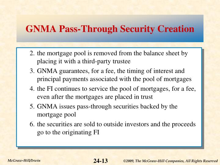 GNMA Pass-Through Security Creation