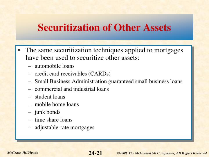 Securitization of Other Assets