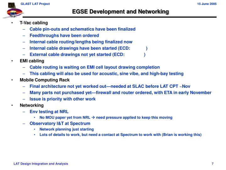 EGSE Development and Networking