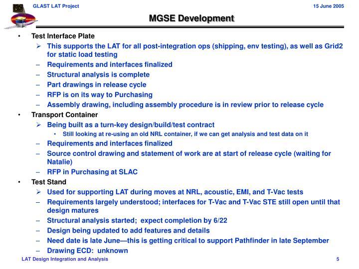 MGSE Development