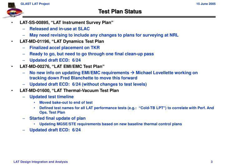 Test Plan Status