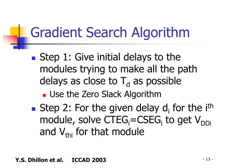 Gradient Search Algorithm