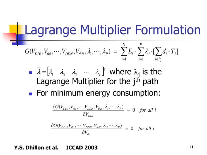 Lagrange Multiplier Formulation
