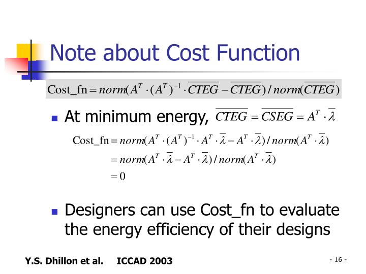 Note about Cost Function