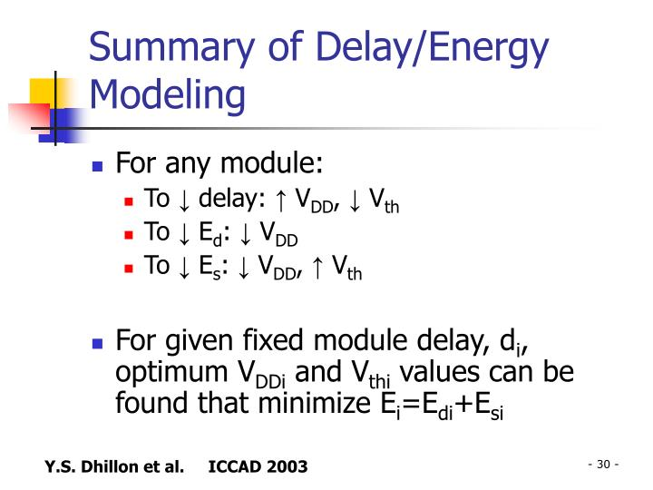 Summary of Delay/Energy Modeling
