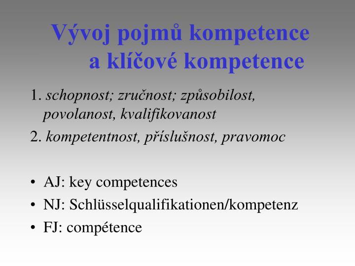 Vývoj pojmů kompetence