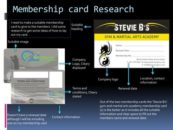 Membership card Research