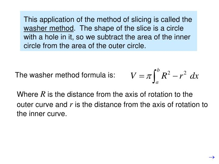The washer method formula is: