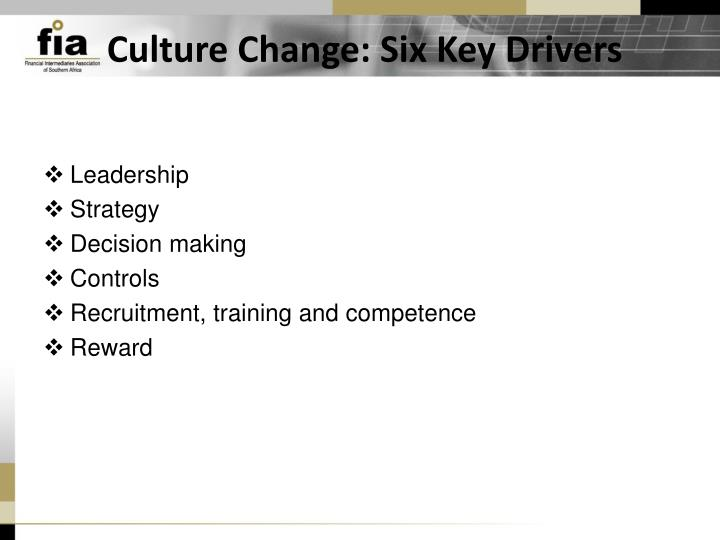 Culture Change: Six Key Drivers