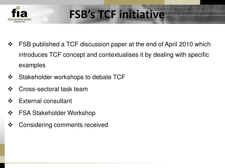 FSB's TCF initiative