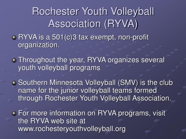 Rochester youth volleyball association ryva