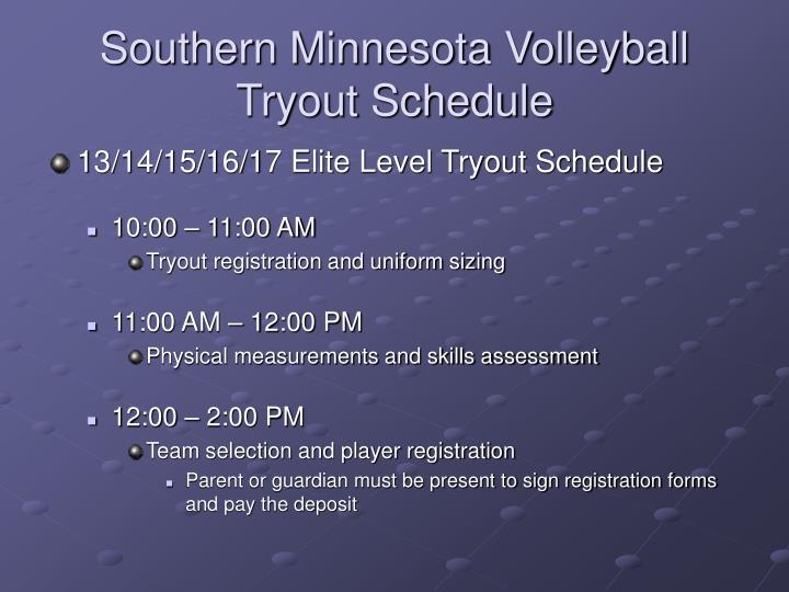 Southern Minnesota Volleyball  Tryout Schedule