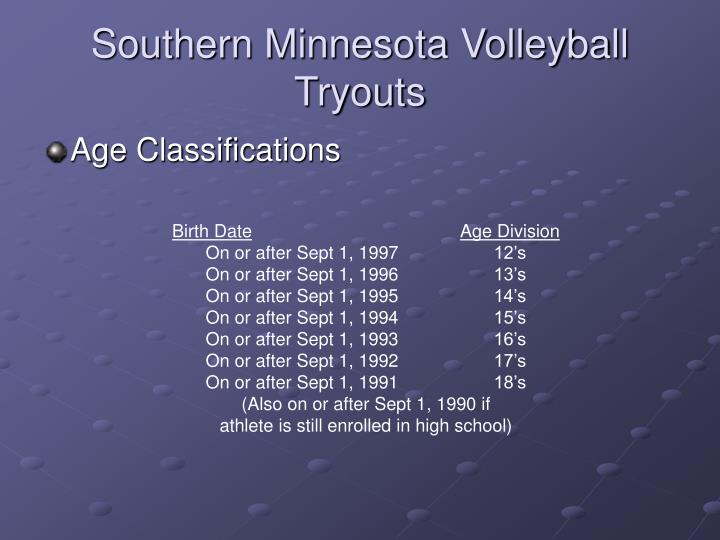 Southern Minnesota Volleyball  Tryouts
