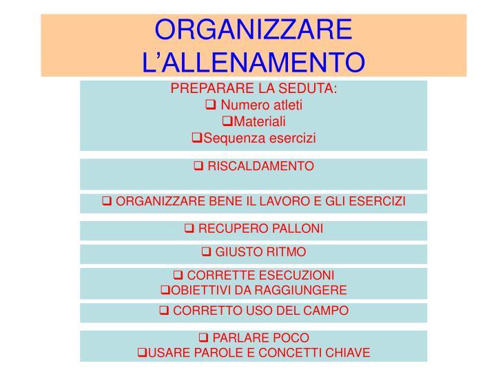 ORGANIZZARE L'ALLENAMENTO