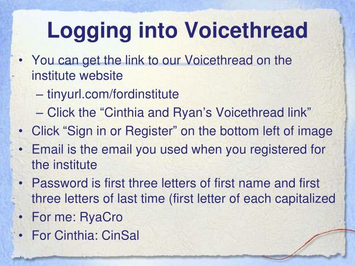 Logging into Voicethread