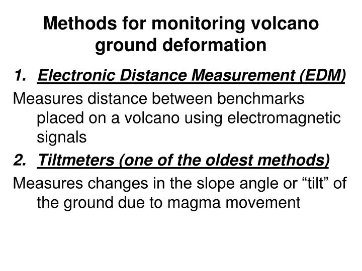 Methods for monitoring volcano ground deformation
