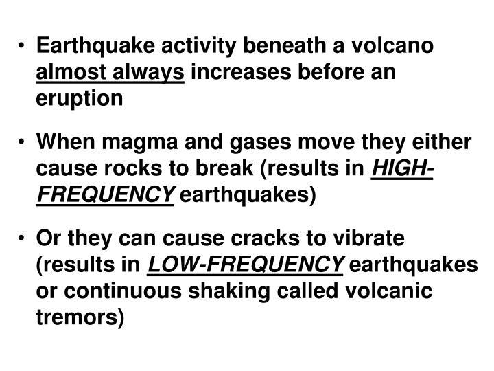 Earthquake activity beneath a volcano