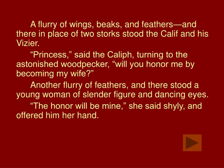 A flurry of wings, beaks, and feathers—and there in place of two storks stood the Calif and his Vizier.