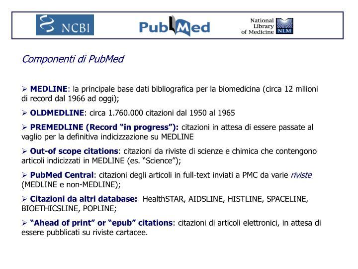 Componenti di PubMed