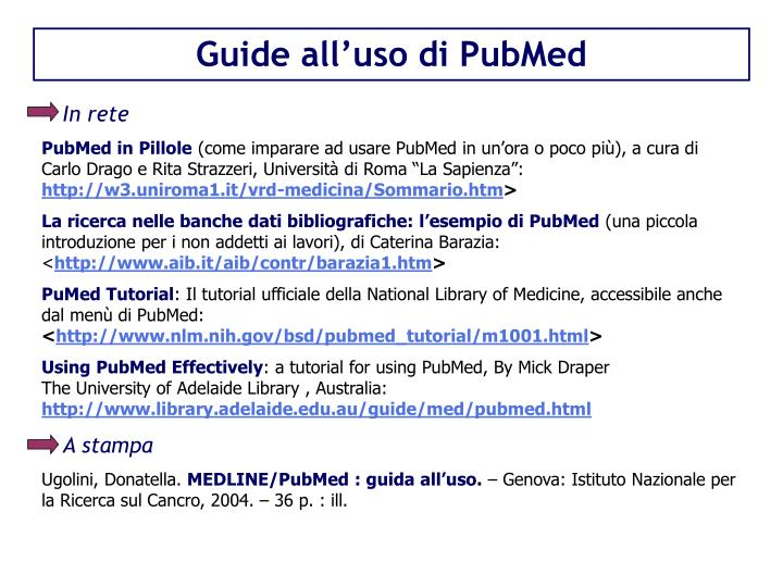 Guide all'uso di PubMed