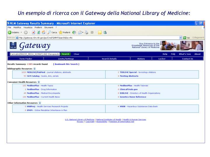 Un esempio di ricerca con il Gateway della National Library of Medicine: