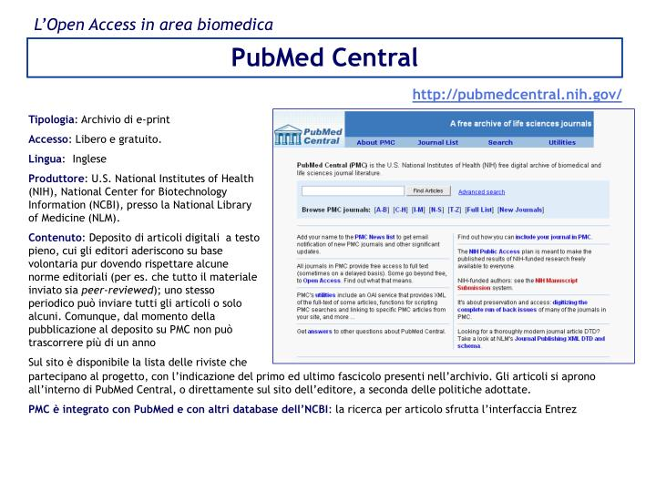 L'Open Access in area biomedica