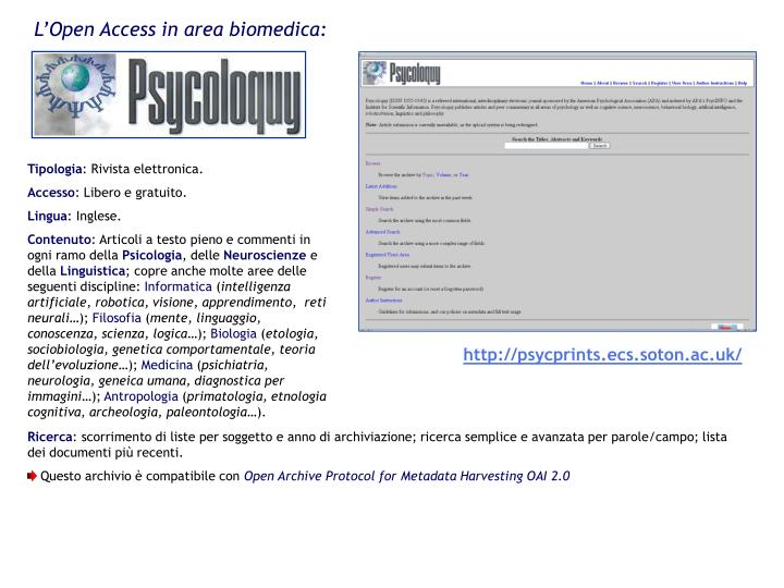 L'Open Access in area biomedica: