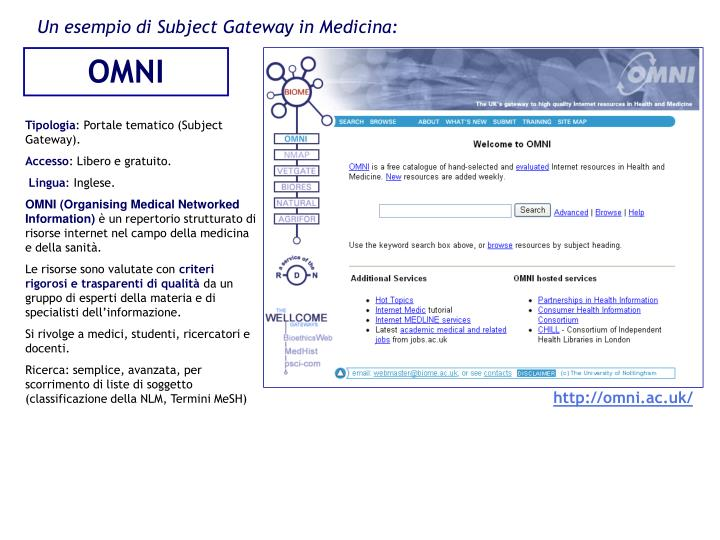 Un esempio di Subject Gateway in Medicina:
