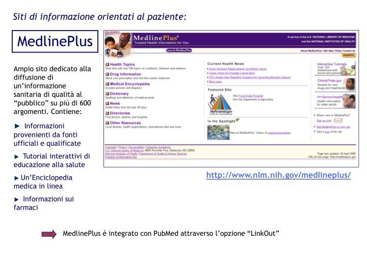 Siti di informazione orientati al paziente: