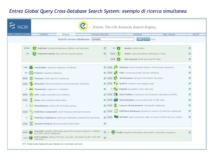 Entrez Global Query Cross-Database Search System: esempio di ricerca simultanea