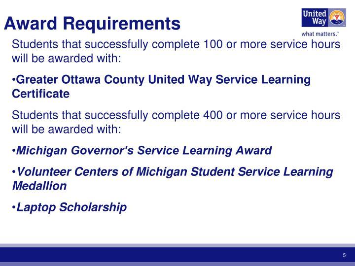 Award Requirements