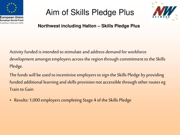 Aim of Skills Pledge Plus