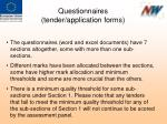 questionnaires tender application forms1