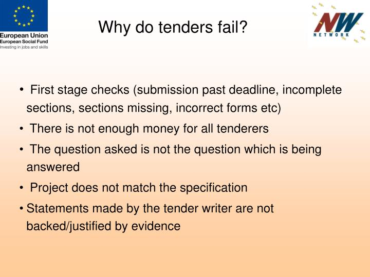 Why do tenders fail?