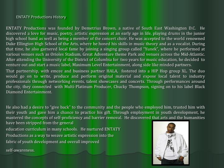 ENTATY Productions History