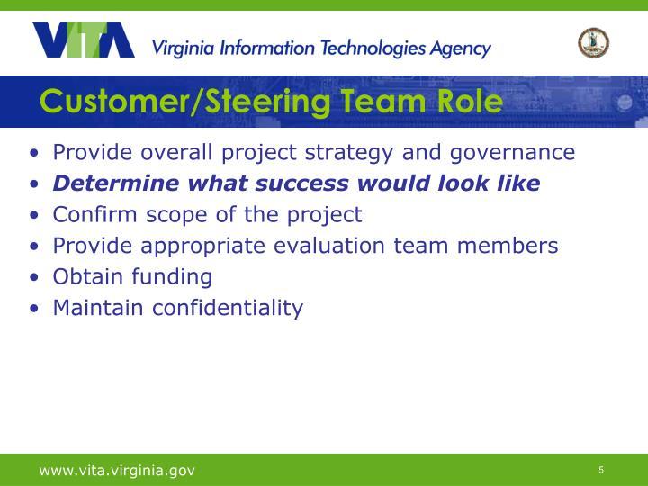 Customer/Steering Team Role