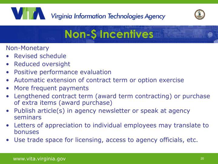 Non-$ Incentives