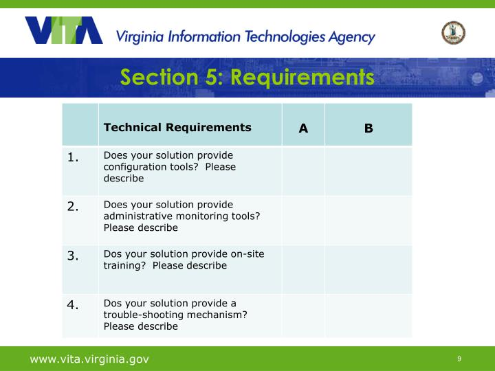 Section 5: Requirements