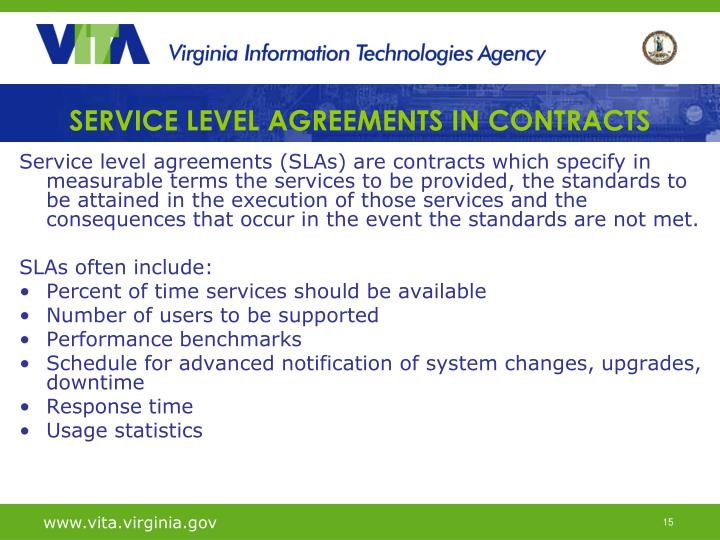 SERVICE LEVEL AGREEMENTS IN CONTRACTS