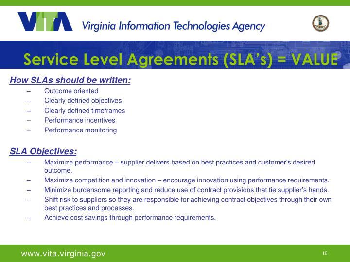 Service Level Agreements (SLA's) = VALUE