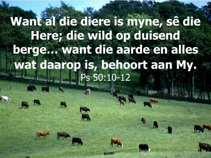 Want al die diere is myne, sê die Here; die wild op duisend berge… want die aarde en alles wat daarop is, behoort aan My.