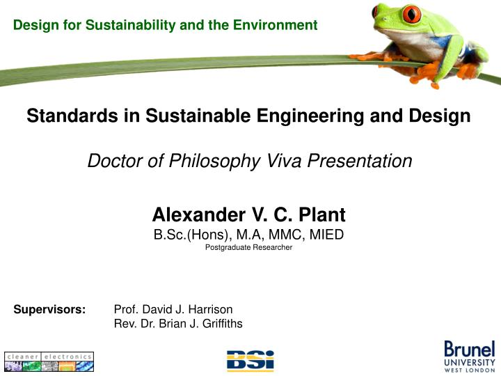 Design for Sustainability and the Environment