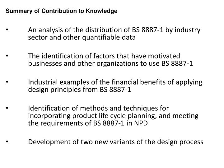 Summary of Contribution to Knowledge